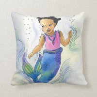 Black Mermaid Princess pillow for girls | Zazzle