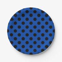 Black polka dots on royal blue paper plate | Zazzle