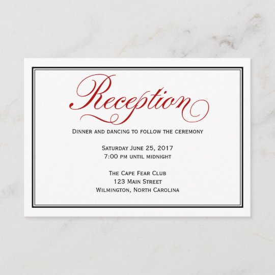 Black Red White Calligraphy Wedding Reception Card Zazzle