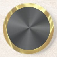 Black Stainless Steel & Gold Drink Coaster | Zazzle