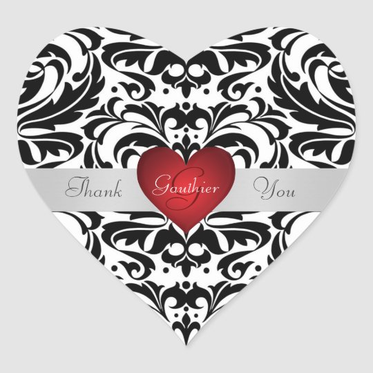 Black  White Damask Red Heart Thank You Sticker Zazzle