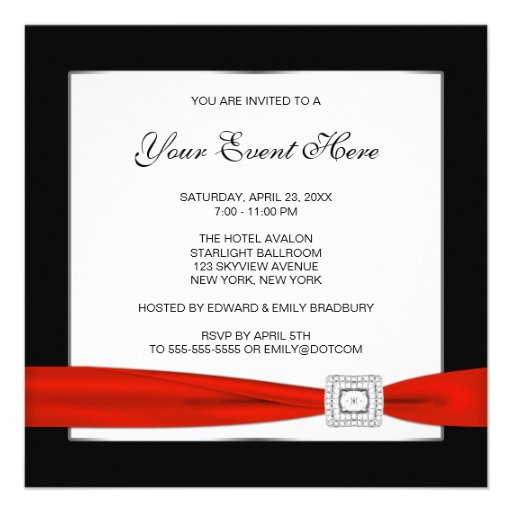 Personalized Red and black birthday party Invitations
