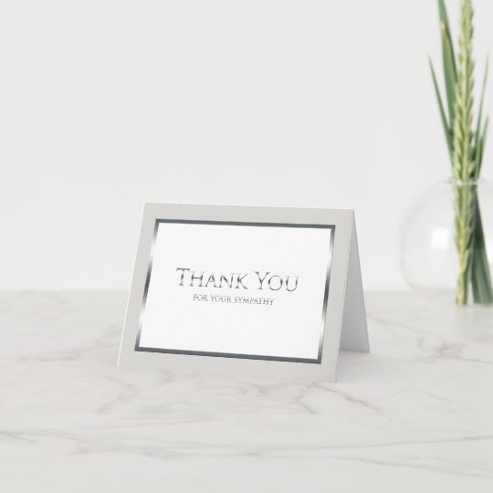 Blank Funeral Thank You Note Card - Classic Silver Zazzle