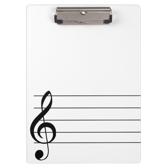 Blank Staff Treble Clef Musical Clipboard Zazzle