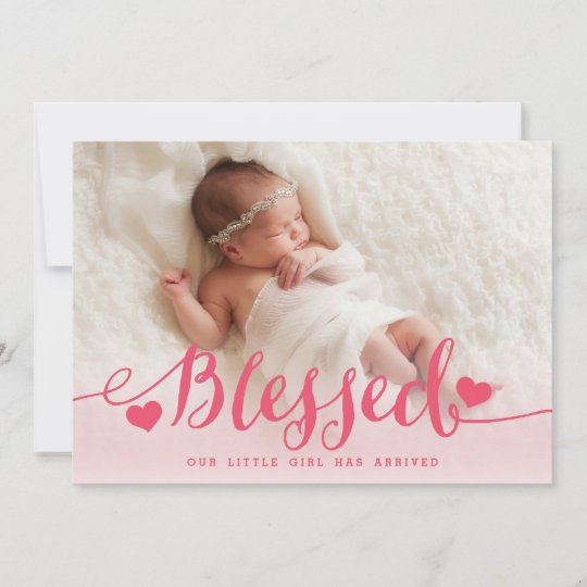 Blessed Pink Baby Girl Photo Birth Announcement Zazzle - Baby Girl Birth Announcements