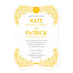 Blissful Laurel EDITABLE COLOR Wedding Invitation