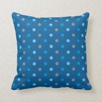 Blue and Grey Polka Dot Throw Pillow | Zazzle