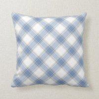 Blue and grey tartan throw pillow | Zazzle