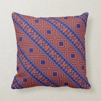 Blue and Orange Southwestern Design Pillow | Zazzle