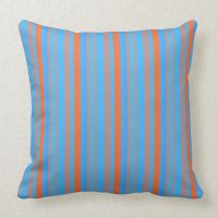 Blue and Orange Stripes Throw Pillow | Zazzle