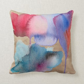 Blue and red watercolour floral on taupe throw pillows