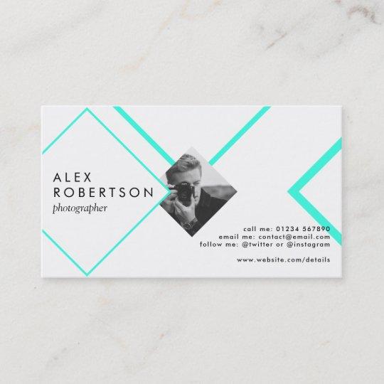 Blue and white diamonds portrait business card Zazzle