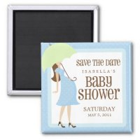 Blue Baby Shower Save The Date Fridge Magnets   Zazzle