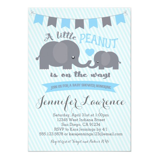 Blue Boy Peanut Elephant Baby Shower Invitation Zazzlecom