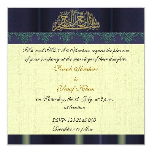 Blue Damask Muslim wedding Invitation | Zazzle