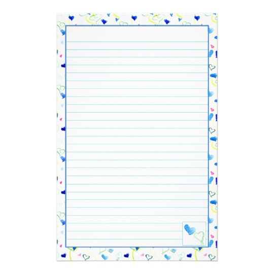 Blue Hearts Watercolor Lined Letter Writing Paper Zazzle - lined letter paper