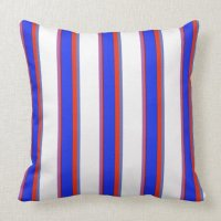 Blue, Orange, and White Stripes Pillow | Zazzle