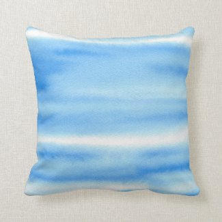 Blue Sky Watercolor Abstract Pillow