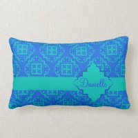 Blue & Turquoise Aqua Arabesque Moroccan Lumbar Pillow ...