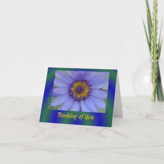 Blue Water Lily Flower Sympathy Card (notecard) Zazzle
