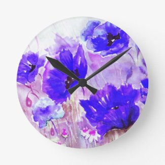 Blue Watercolor Poppies. Round Clocks