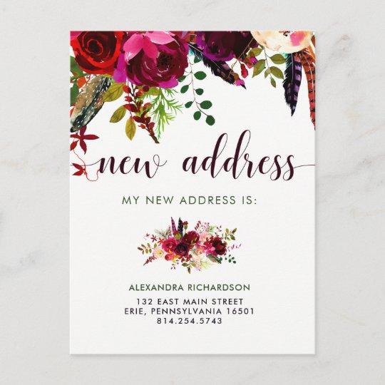 Boho Floral New Address Announcement Postcard Zazzle
