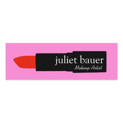 Bold Pink Makeup Artist Lipstick Logo Beauty Mini Business Card