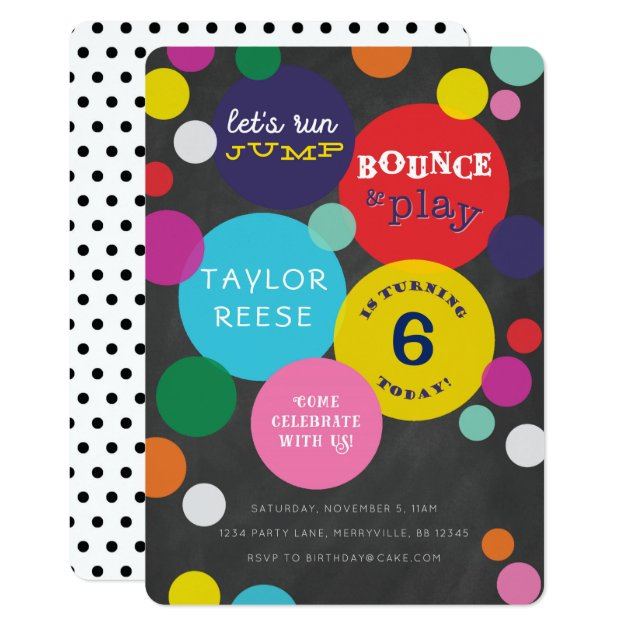 Bounce House Jump Birthday Invitation Zazzlecom