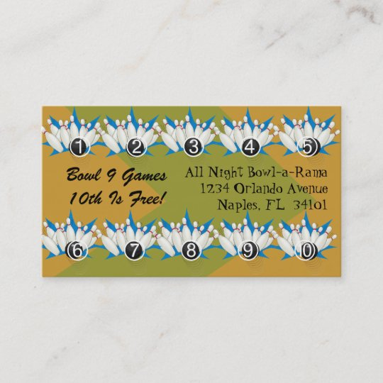 Bowling Alley Loyalty Rewards Business Punch Cards Zazzle