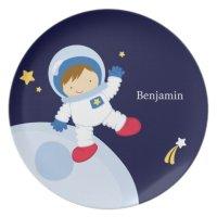 Boy Astronaut Kid's Personalized Dinner Plate | Zazzle.com