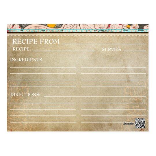 Bridal Shower Recipe Cards- Rustic Floral Postcard Zazzle