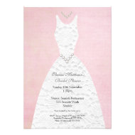 Bridal Shower Vintage Pink White Wedding Dress Custom Invitations