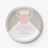 Bridal shower wedding dress custom paper plates 7 inch ...