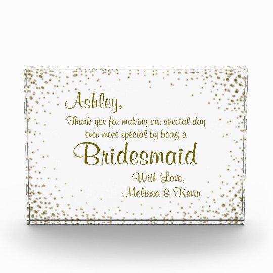 Bridesmaid Award Certificate Gold Confetti Zazzle