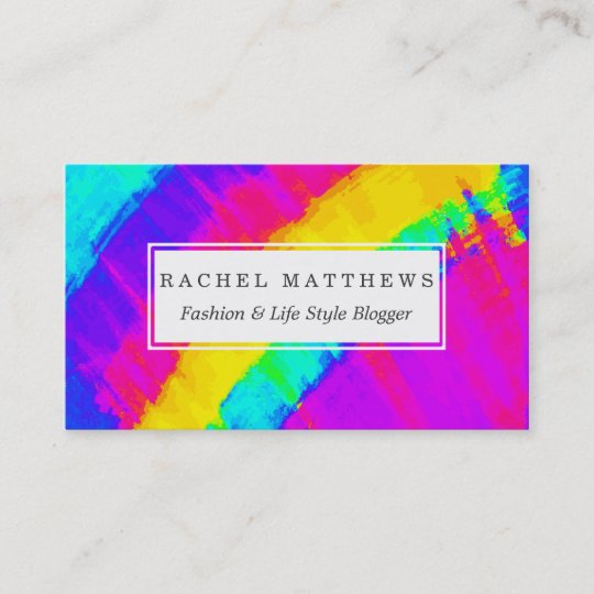Bright Colorful Abstract Brushstroke Rainbow Business Card Zazzle