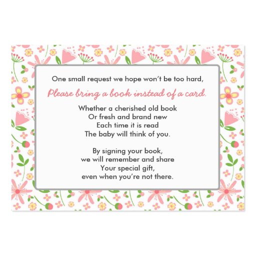 Bring a Book Baby Shower insert card pink green Large Business Card