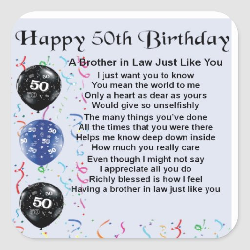 Brother In Law Poem 50th Birthday Square Stickers 2 40th Ideas Gift