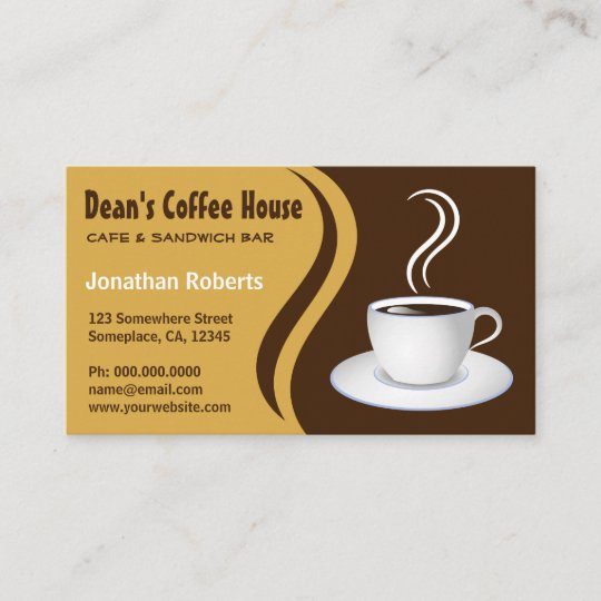 Brown and Beige Waves Coffee House Shop Cafe Business Card Zazzle