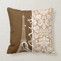 Brown Damask; Paris Pillows