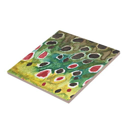 Brown Trout Fish Ceramic Tile