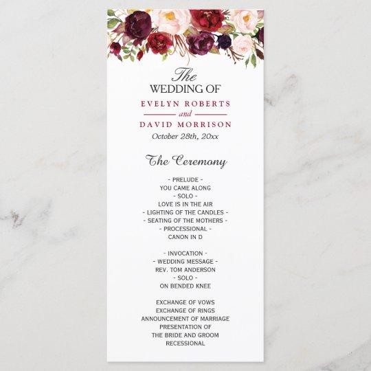 Burgundy Marsala Red Floral Chic Wedding Program Zazzle