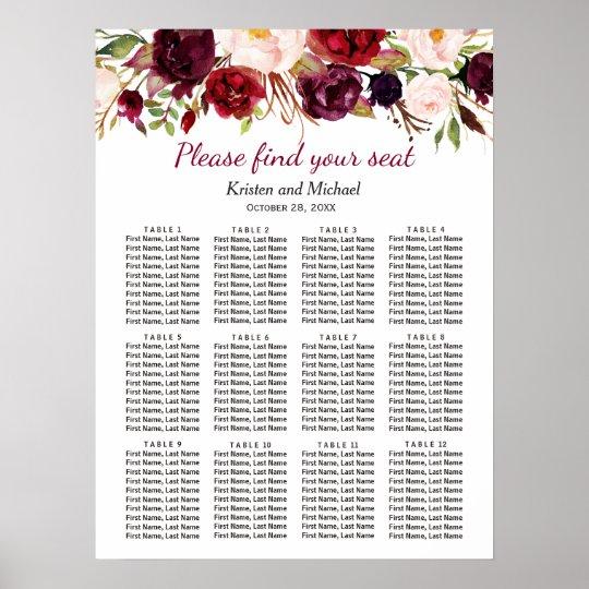 Burgundy Marsala Red Floral Wedding Seating Chart Zazzle