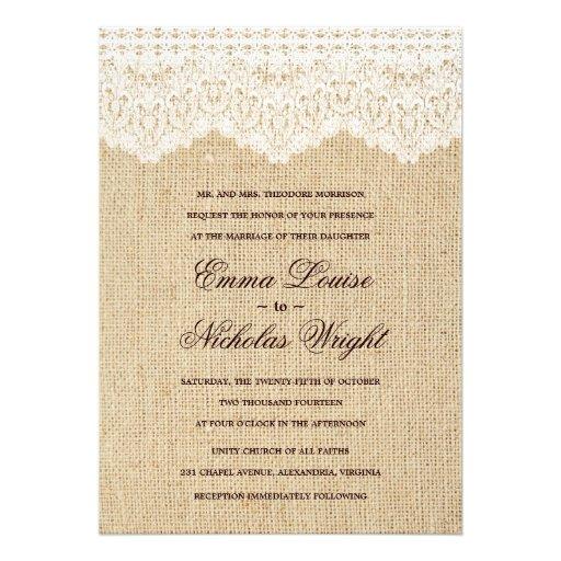 Burlap And Lace Wedding Invitations 5quot X 7quot Invitation