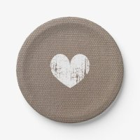 Burlap country chic heart paper plates for wedding ...