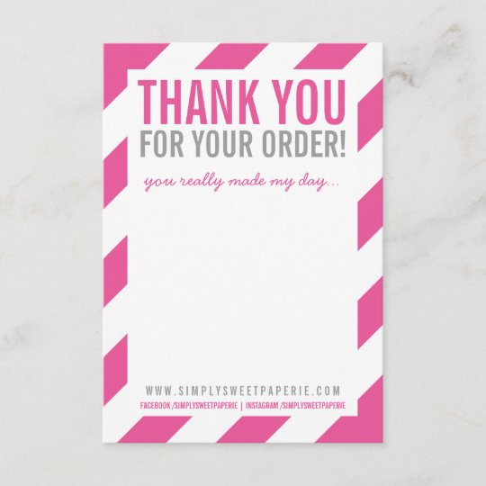 BUSINESS THANK YOU NOTE bold bright stripe pink Zazzle