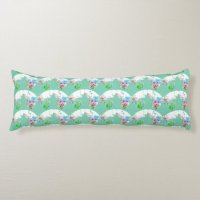Butterfly floral pattern on teal cute girly body pillow ...