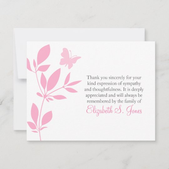 Butterfly Funeral Thank You Note Card Pink Zazzle