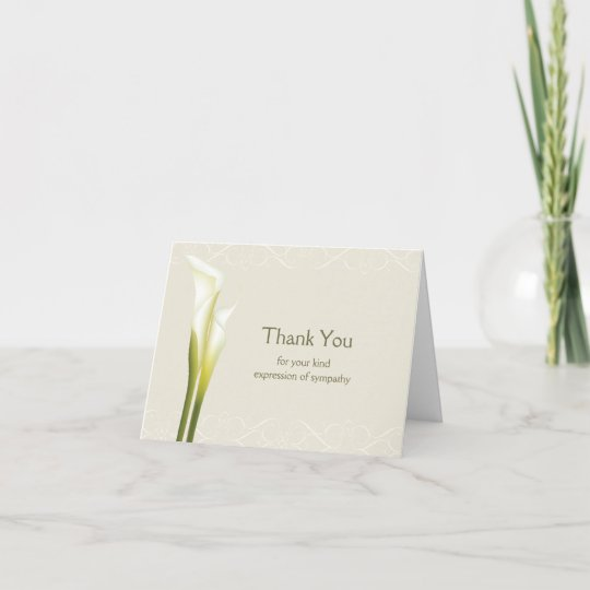 Calla Lily Sympathy Thank You Cards Zazzle