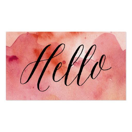 Calligraphy   Pink Watercolor Wash| Business Cards