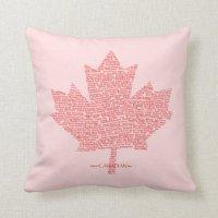 Canada Maple Leaf Words Pillow | Zazzle